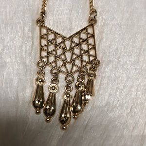 Gold Aztec Patterned Necklace
